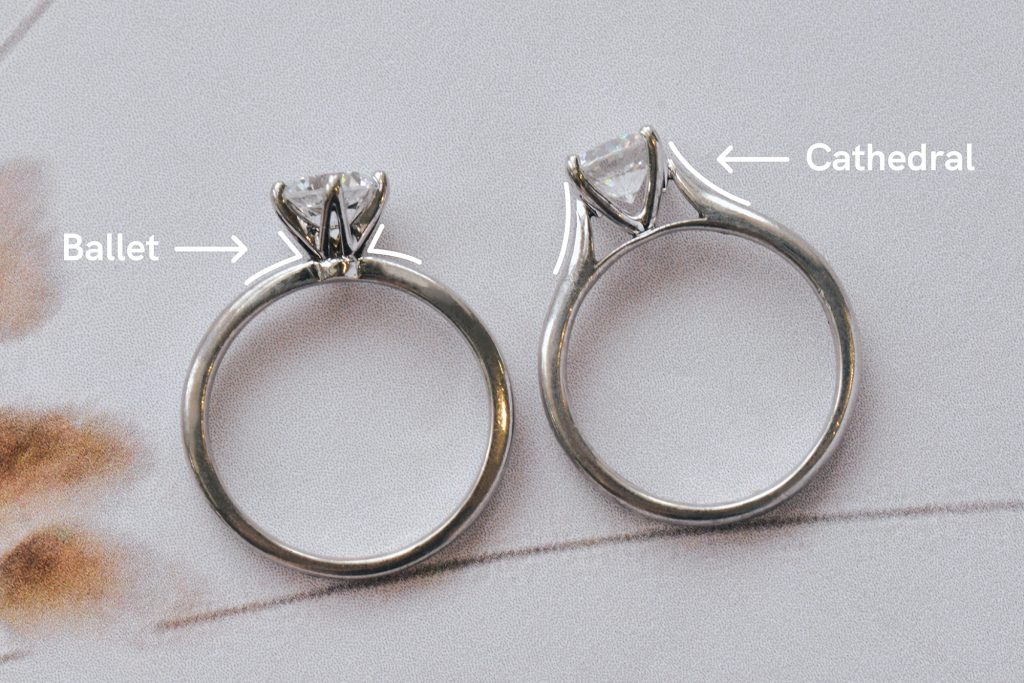 Solitaire engagement ring ballet vs cathedral band comparison
