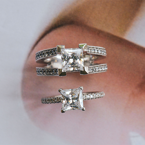 Princess Cut diamond ring with shoulder comparison
