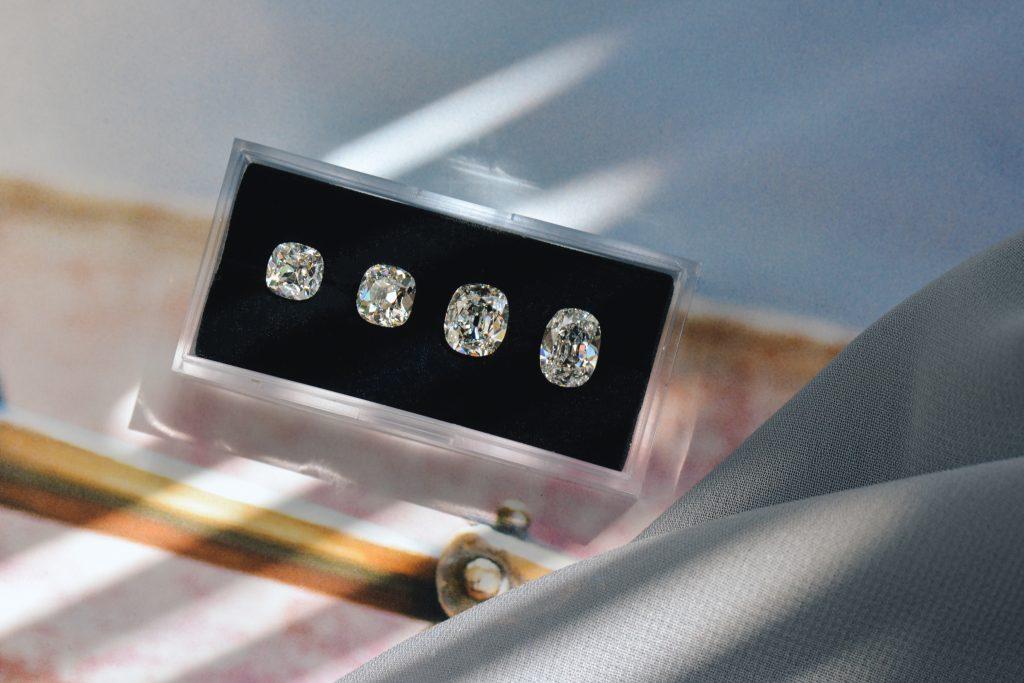 Different size old mine brilliant diamonds comparison