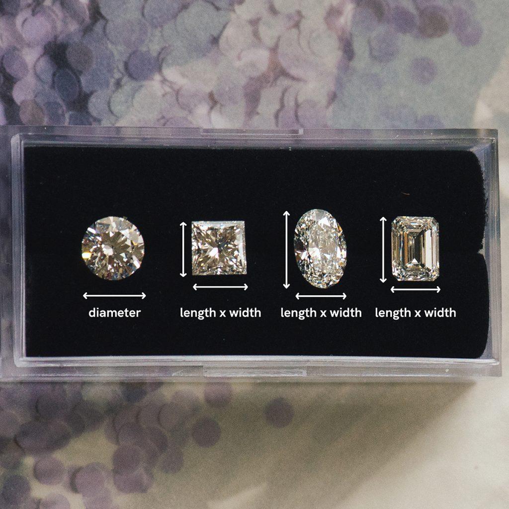 Different shape diamonds size measurement