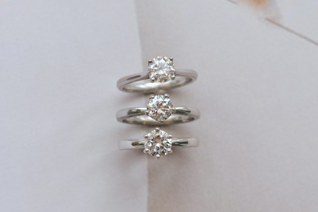 round solitaire engagement rings different prongs comparison