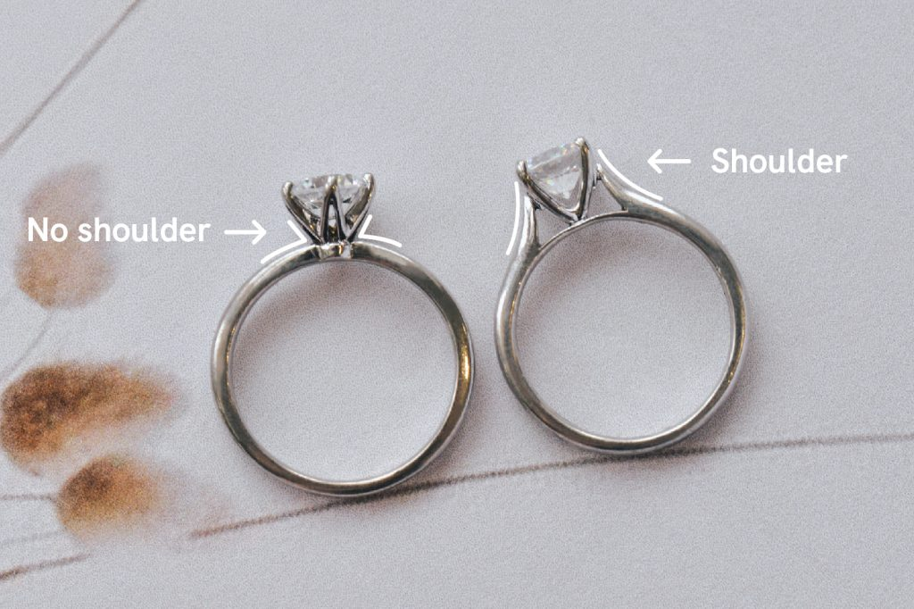 solitaire engagement ring shoulder vs no shoulder comparison