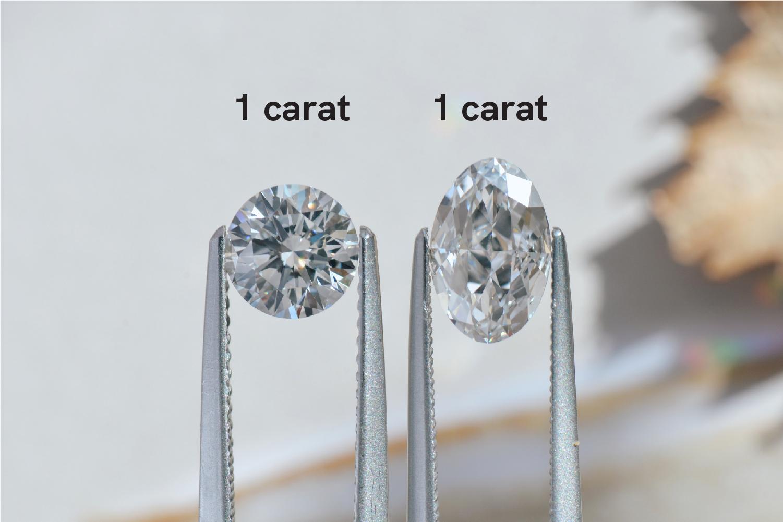1 carat oval versus round diamond comparison
