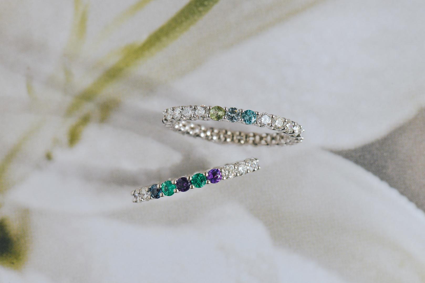 gemstone rings, alexandrite, aquamarine, emerald, peridot