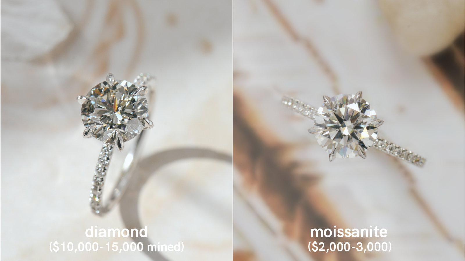 Diamond ring with side stones vs Moissanite ring with side stonescomparison