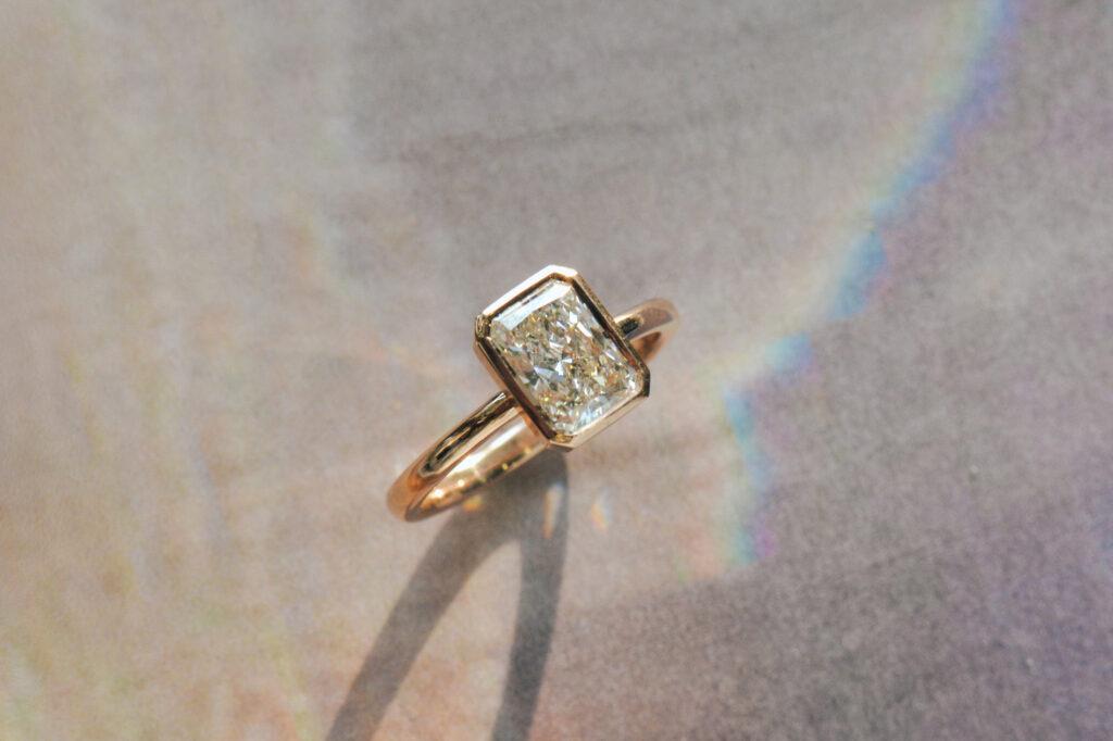 radiant bezel set ring