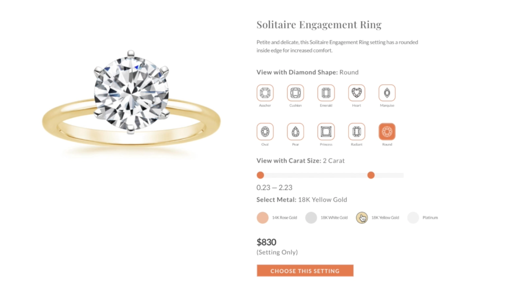 ring selection feature e-commerce online